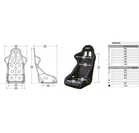 Крісло (ковш) для автоспорту Sabelt Racer Duo
